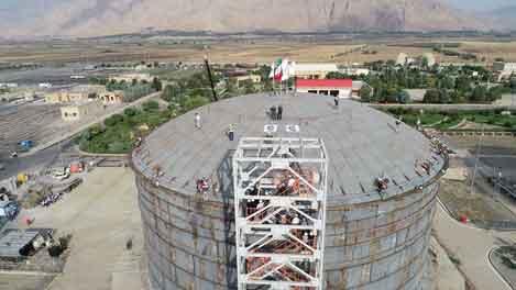 عملیات نصب سقف مخزن کرمانشاه با فشار هوا(Air Rising )